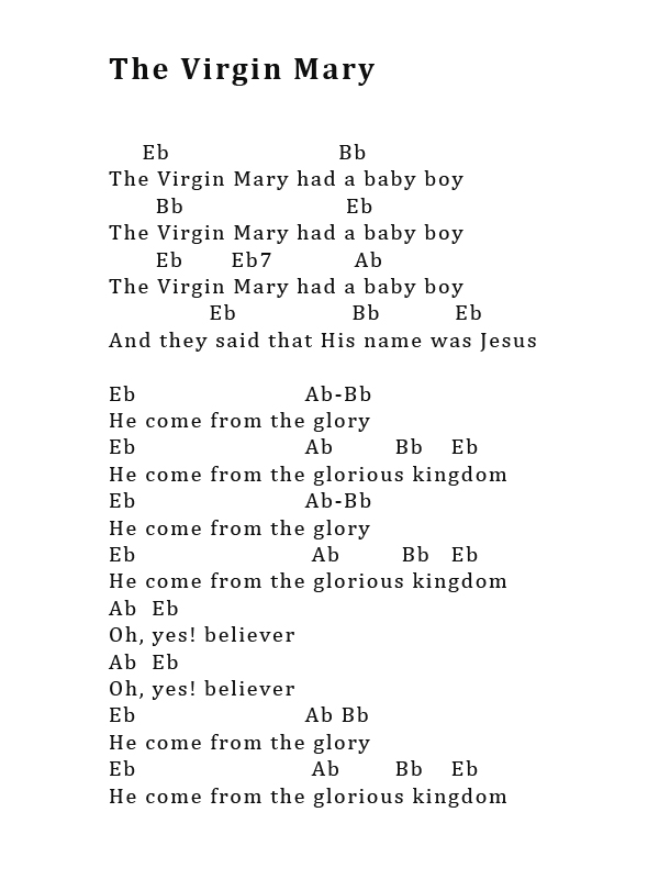 Guitar and/or Ukulele chords for The Virgin Mary | Lewes Voice Works