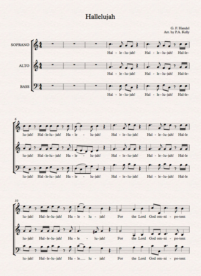All Music Chords Handel Messiah Hallelujah Chorus Sheet Music